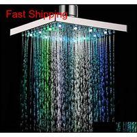 Wasserfall-LED-Duschkopf-Temperatursensor 7 Farben Lichtänderung Square Deckenregen-Duschkopf B Jllwst Lajiaoyard