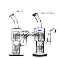 Toro-Recycler Bubbler-Glasbongs mit diffusem Doppelarmbaum Perc-Wasserleitung DAB-Rigg mit 18-mm-Gelenksnütze Shisha