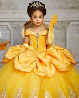 Sarı Dantel Kristaller 2021 Çiçek Kız Elbise Bateau Balll Önlük Küçük Kız Gelinlik Ucuz komünyon Yarışması Elbise Modelleri