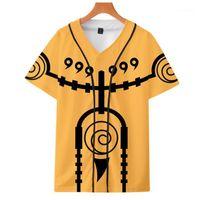 Erkek T-Shirt Uchiha Klan Beyzbol T-Shirt Erkek Kadın Anime Naruto 2021 Yaz Kısa Kollu V Yaka Sasuke Moda Trend Top1