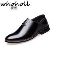 Chaussures de robe Whoholl Cuir Concise Hommes Business Noir Black Respirant Formel Mariage Basic Men1
