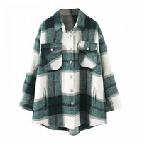 2020 Herbst Winter Plaid Oversize Jacken Lose Kausal Checker Streetwear Mantel