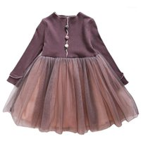 Menoea 2-7years menina outono vestido 2020 crianças manga comprida malha vestidos de festa crianças princesa vestido menina roupas1