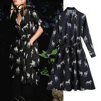 Nlzgmsj Za Women With Belt Animal Print Midi Shirt Dress Vintage Long Sleeve Button-up Female Dresses Vestidos Mujer 200929