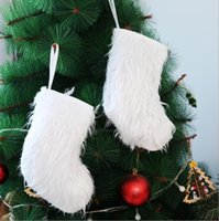 Chaussettes blanches de Noël Arbre de Noël Hanging Blanc Pendentifs long peluche Bas pour enfants Cadeaux Sacs Belle chaussettes de Noël Ornements LSK1905