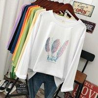 DONAMOL Плюс размер Весенняя мода Повседневный женщин с длинным рукавом футболки свободные 100% хлопок мягкий пуловер Harajuku перо Tops печати