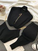 Juego de mujeres de moda otoño nuevo dulce temperamento cadena chaleco de punto chaqueta casual pantalones elásticos de tres piezas a1111