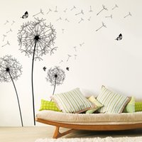 [ZOOYOO] large black dandelion flower wall stickers home decoration living room bedroom furniture art decals butterfly murals 201208