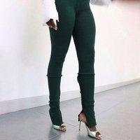 Streetwear высокой талией штабелях гетры Женщины Split Спорт Фитнес Joggers Зеленый Черный тощий карандаш штаны