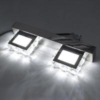 2 Işıklar Modern Su Geçirmez Ayna Duvar Işık LED Banyo Nordic Art Deco Aydınlatma Kare Vanity Kristal Aplik Kristal Lambası