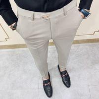 Casual Calças Slim Fit Mens Terno Vestido Streetwear Pants Men 34 de alta qualidade Gentlemen Escritório Calças masculinas All Jogo comprimento do tornozelo 200930