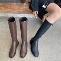 Bottes Luxe 2021S Femmes Talons Long Long Hiver Genou High Plat Riding Confortable Cuir Cuatjamner Chaussures