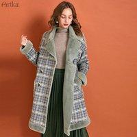 Женская шерстяные смесинки Artka 2021 зимние женщины шерстяное пальто винтажные клетки сгущают теплые длинные турные двубортные отворотный мех WA10294D