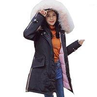 Women's Trench Coats Winter Warme Feste Frau Big Collar Down Parka Große Jacke Medium Lange Stil der Parker 81211