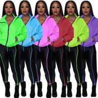 Tasarımcılar Kadınlar Spor Floresan Katı Renk Tracksuits Uzun Kollu Fermuar Ceket Palto Pantolon iki parçalı kıyafetler Casual Suit F110602