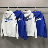 Tanrı Essentials LA Sınırlı Ortak SİS Tasarımcı Sokak Marka High Street Gevşek Triko Hoodie Mavi Yüksek Kalite S-XL Moda Trend korkusu