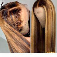 UWIGS 4 27 تسليط الضوء على شعر مستعار 13x4 مستقيم الرباط الجبهة 1B 27 ملون شعر الإنسان قبل التقطه البرازيلي أومبير الإنسان شعر الباروكة