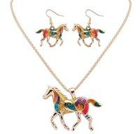 Neueste Regenbogenpferd Schmuck Set Silber Gold 20 Zoll Halskette + 3 * 2.7 Ohrringe 2 teile / satz Pferd Ohrringe Halskette PS1351
