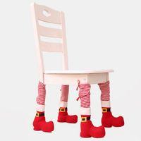 Silla de Navidad cubierta del pie rayado rojo del restaurante Tabla cubierta del pie del Hogar Tabla Protección Cubre Sillas textura xams Decoración RRA3681