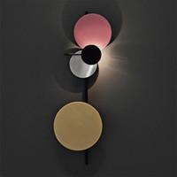 Nordic Loft multicolor del círculo del metal LED redonda Lámpara de pared del arte DIY Estilo Planeta de pared LED bollos cabecera del hotel Decro Iluminación Interior