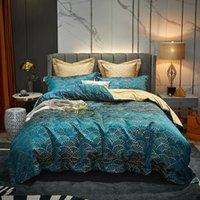 Conjuntos de ropa de cama 4 unids de lujo en casa textiles king size cubierta cubierta clásico fan jacquard edredón reina egipcio algodón satinado sábado euro 220