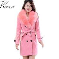 WMWMNU Kış Moda Ince Uzun Yün Ceket Kadınlar Büyük Kürk Yaka Kruvaze Sıcak Yün Ceket Zarif Vintage Pembe Ceket 210204