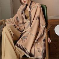 Luxury Horse Stampa Sciarpa Donna Cashmere Inverno Sciarpe calde Brand Pashmina Scialli Lady Wraps Bufanda Bandana Bandana LJ201221