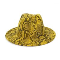 Sningy بريم القبعات wzcx الأزياء snakeskin نمط المرأة الجاز قبعة الخريف الشتاء عارضة المد واسعة أنيقة شعرت بالغ كاب 1