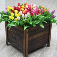 Tulipanes de seda Flores 7 cabezas PU Fake Artificial Artificiales Bouquets Fiesta Flores artificiales para la fiesta de la boda de la fiesta en casa