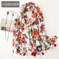VISROVER 2020 mode écharpe viscose impression fleur printemps été avec pompon Mode Wraps Châles Summer Beach Hijab Wholesales