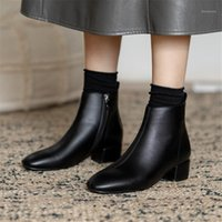 النساء الخريف الشتاء الكاحل أحذية قصيرة أفخم نعل سستة عالية الكعب أشار تو بو الجلود الإناث الأحذية أسود أبيض حجم كبير 431