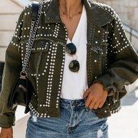Ручная усеянная заклепка джинсовая куртка женщины свободные короткие куртки дамы высококачественные джинсы куртка базовые пальто уличные одеяла 4 стилей