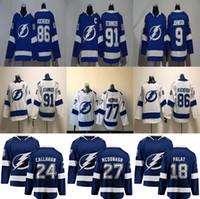 Tampa Bay Lightning Jersey 27 Ryan McDonagh Jersey 86 Nikita Kucherov 91 Steven Stamkos 9 Tyler Johnson Hockey Jerseys Costada para hombre