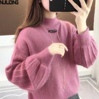 Nijiuding осень кашемировый фонарь рукава твердых свитер Женщины шерсть свободные O-шеи теплые толстые пуловеры повседневная верхняя одежда Топы женские 201130