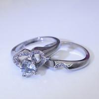 Пара новых творческих сердечных симуляционных симуляционных бриллиантовых бриллианторов европейской и американской моды Пара Обручальное кольцо