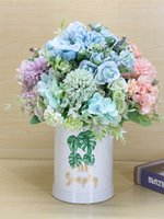 Flores artificiales 7 ramas de seda falso rosa hoja hortensia boda floral decoración ramo brida mano flor jk2102xb