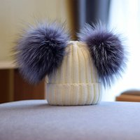 New fashion designer lovely cute double real fur ball thick knitted casual winter spring warm hats for students girls women men kids