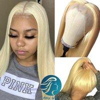 HD прозрачная блондинка 613 полное кружевное человеческие волосы парики натуральные прямые предварительно сорванные с детскими волосами чернокожих женщин бразильский реми Кружева парик Instock