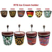 스푼 홀더 6 디자인 레오파드 패턴 재사용 네오프렌 아이스크림 홀더 슬리브 아이스크림 코지 커버 컵 홀더 절연체 컵 슬리브