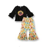 2020 جديد فتاة طباعة الأميرات الزي الربيع الاطفال طويلة الأكمام تي شيرت + زهرة السراويل الطويلة 2 قطع الدعاوى الأطفال عارضة الملابس مجموعة