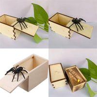 9.5 * 6.5 * 6 см небольшие деревянные ящики Play Shoke Silicone Дайте вам сюрприз шатун скрытый паук-паук игрушка подарок отпугивания новое прибытие 3 5by M2