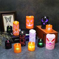 Хэллоуин украшения LED свечах Светящиеся тыквы Свеча фонарь Хэллоуин одеваются Реквизит Bat и Skeleton 12 Стиль XD23992