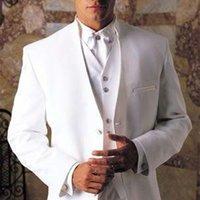 Erkek Takım Elbise Blazers 2021 Varış Beyaz Smokin Erkekler Takım Elbise Standı Yaka Düğün Için 3 Parça Damat Groomsmen