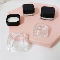 3ml 5ml vape acessórios à prova de vidro frasco de vidro para cera e concentrados embalagem recipientes claros com tampa preta multi tamanho