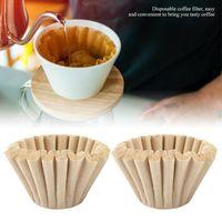 Filtros de café 50 unids de la taza de fibra de madera desechable Papel de la porción única para el filtro de la máquina Cake Bowl
