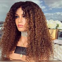 Honig blonde ombre seide basis menschliches haarperücken glueleless jungfrau peruanian kinky lockig remy haar spitze frontperücke zwei tonfarbe 1b 30