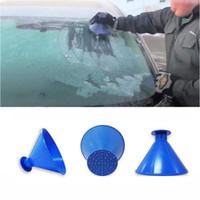 눈 제거제 마법의 창 앞 유리 자동차 아이스 스크레이퍼 스노우 던지기 콘 모양의 깔때기 청소 다기능 도구 VT1927