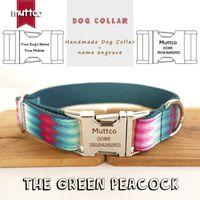 Collier de chien gravé de Mutco Gravure Colding Cool Self-Design Chiot personnalisé Anti-perdu Nom du chien de chien vert 5 tailles UDC010 201104