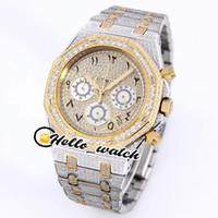 Relojes de diamante con hielo completo Pave Twe Tone Yellow Gold Numerales árabes marcadores Dial VK Cuarzo Cronograph Mens Watch Sport Hello_wtch