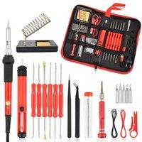 26 stücke 60W Multifunktionale elektrische Lötkasten Kit Schraubendreher Entlötpumpe Tipp Kabelzange + Werkzeugtasche EU-Plug / US-Stecker